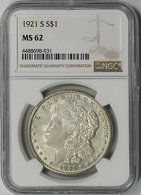 1921-S $1 NGC MS 62 Morgan Silver Dollar