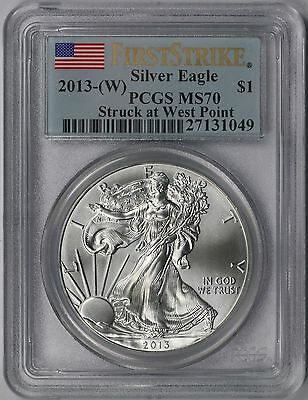2013-(W) Silver Eagle $1 MS 70 PCGS First Strike Struck at West Point