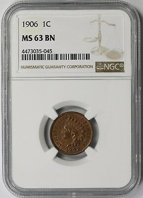 1906 1C NGC MS 63 BN Indian Head Penny