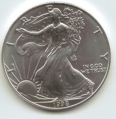 1998  Uncirculated American Silver Eagle  1-Troy oz. .999 Silver. Eagle is Clean