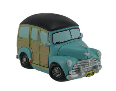 Zeckos Blue and Black Vintage Woody Surf Wagon Truck Style Coin Bank