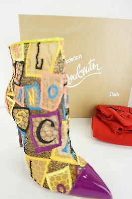 4da777f9ab9 Christian Louboutin GipsyBooties Mesh Letter Blocks Ankle Boot Size 37 NIB   1195