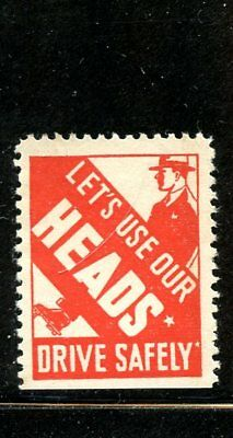 Automobile Poster stamp 1930s Use our heads Drive Safely Safety stamp