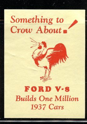 Automobile Poster stamp 1937 V-8 Flathead Ford Cars Rooster Chicken