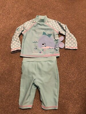 Baby Girls TU Whale 2 Piece UV Suit With Built In Swim Nappy Age 6-9 Months VGC