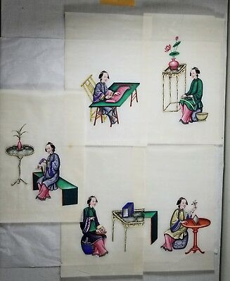 """5 Antique Vtg Chinese Paintings of Women on Rice Paper 7.5"""" X 11.25"""""""