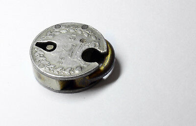 Unusual Antique Tiny Lock Made From Sterling Silver Victorian Threepence Coins
