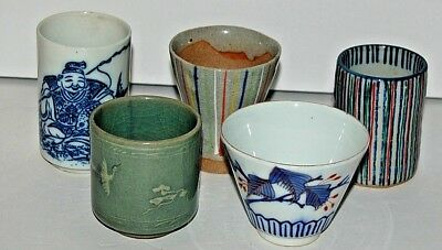 5 Tea Bowls, Cups, in Various Sizes, all Japanese, 4 Signed or Marked