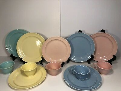 12 Piece Luray Pastels Cups & Plates 4 Cups Unmarked Taylor Smith & Taylor Bowls