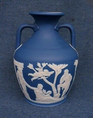 "Early Wedgwood 6"" Medium Blue Jasperware Portland Vase Very Nice!"
