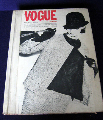1963 Vtg Vogue Sewing Pattern Store Counter Large Catalog Book March 1960's