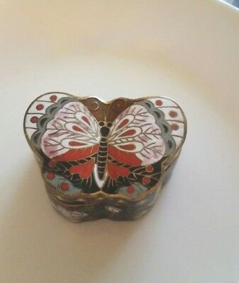 Vintage Cloisonne Chinese Metal Butterfly Shaped Trinket Box Cobalt Rust White