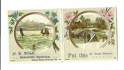 Trade Card HD Cole Scientific Optician Norway Maine Eye Glasses Anti-Government