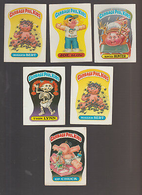 Lot of 6 Garbage Pail Kids trading cards Vintage 1988 Up Chuck Thin Lynn
