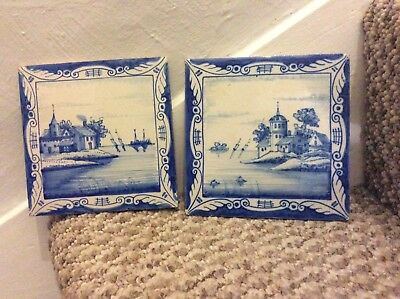 Antique / Vintage Dutch Blue Delft Tiles / Hand Painted