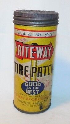 RARE Rite Way Tube Repair Kit Advertising Motorcycle Car Tire Patch Tin