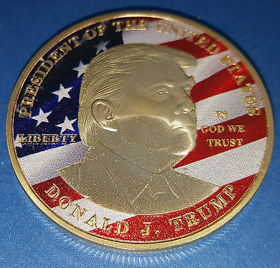 Donald Trump Gold Coin Medal US President Land of the Free New York Washington