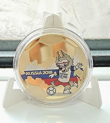 World Cup Russia 2018 Gold Coin Players Mascot Muller Messi Kane Wolf Logo Pogba