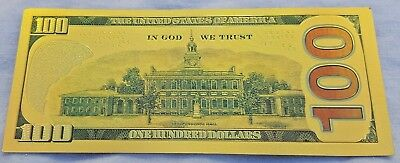 Gold 100 Dollar Bank Note Signed Federal Reserve Benjamin Franklin Americana UK
