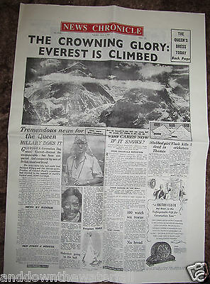 1953 Newspaper Mount Everest Hill Climb Mountaineering Sir Edmund Hillary Nepal