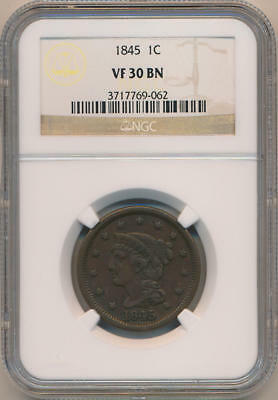 1845 Coronet Head Large Cent, NGC VF30 Brown