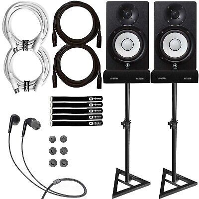 """Yamaha HS5 5"""" Powered Studio Recording Monitor Speakers Pair w Stands XLR Cables"""