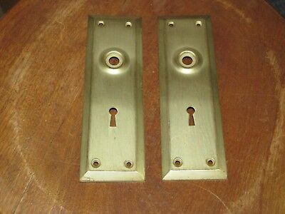 Matching Vintage Brass Door Knob Backplates with Keyholes, 7 Inch