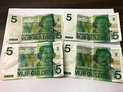 Lot of 4 x 1973 Netherlands 5 Gulden notes, Dutch Guilder vintage banknotes