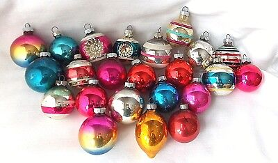 23 Vtg Small Shiny Brite Glass Christmas Ornaments Solids Stripes & 2 Dbl Indent