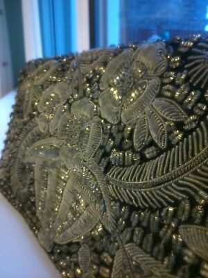 Beautiful Vintage Silver and Marcasite Clutch Bag Embroidered 1920-30
