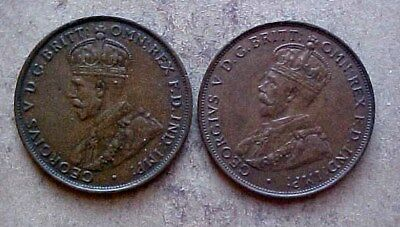 1927 Has A Nice Die Crack And 1932 Australia High Grade Large Cents - Two Coins