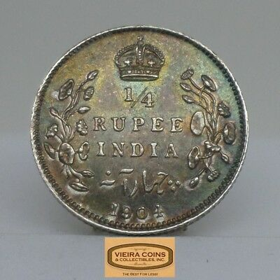 1904 British India Silver 1/4 Rupee, George VII King Emperor, Toned  - #B12967