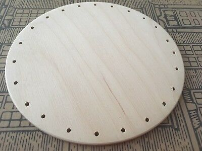 """2 x 8"""" /20.5cm Round Wooden Basket Bases Drilled Holes Various Crafts"""