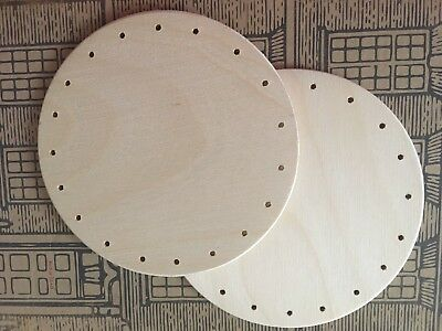 """2 x 5"""" /12.5cm Round Wooden Basket Bases Drilled Holes Various Crafts"""