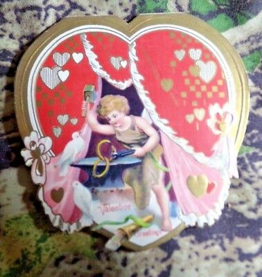 Vintage Valentine's Day Card GERMANY, Cupid at Anvil with White Doves 1940's