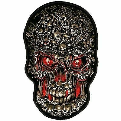 Iron Cross 3 Skulls Red MC Club Embroidered Motorcycle Biker Vest Patch PAT-2527