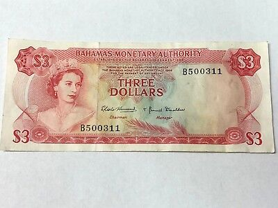 1968 BAHAMAS $3, QEII Three Dollars banknote, vintage paper money