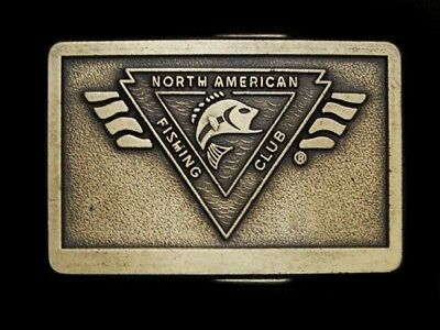 NA19134 VINTAGE 1980s **NORTH AMERICAN FISHING CLUB** BELT BUCKLE