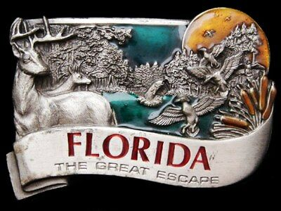 Ih17136 Vintage 1984 ***Florida - The Great Escape*** Pewter Buckle