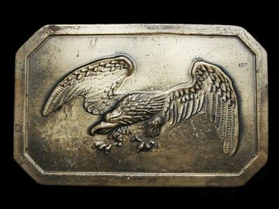 MJ29103 VINTAGE 1970s **BALD EAGLE** SOLID BRASS BELT BUCKLE