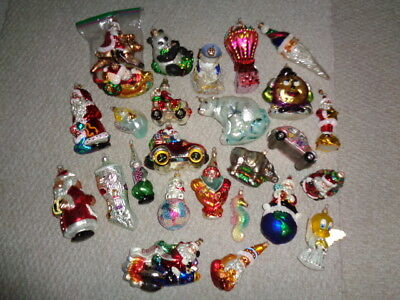 Large collection Christopher Radko christmas ornaments rare retired santa animal