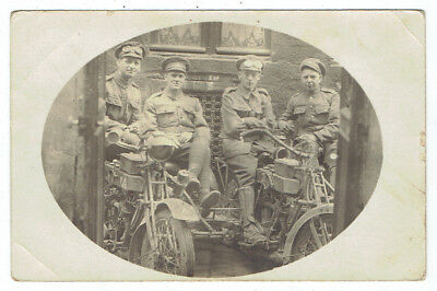 Real Photo Post Card of 4 Uniformed Men on Motorcycles with Sidecars