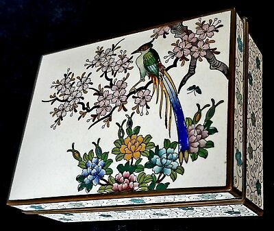Antique Cloisonne Box w Bird Fine Detail China or Japan Unmarked Unknown Age