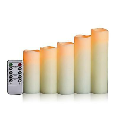 Flameless Candles Ivory LED Real Pilar Remote Control with Timer 5 PACK NEW