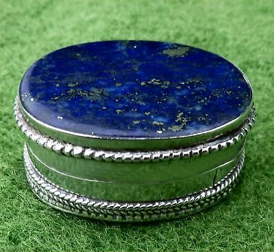 Small Oval 925 Silver Pill Box With Attractive Hardstone Lid