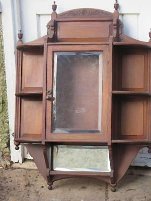 Vintage Edwardian Dark Wood Wall Cabinet Bevelled Glass & Mirror