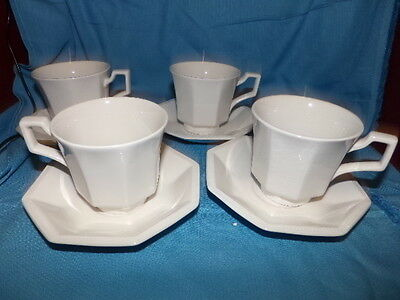 Johnson Brothers English Set 4 White Heritage Design Coffee Cup & Saucer England