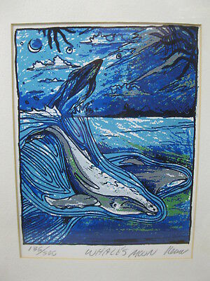 """WHALE'S MOON Art Print Michael """"NEMO"""" Nemnitch Signed Numbered Framed"""