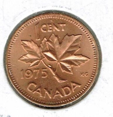 1975 Canadian Brilliant Uirculated One Cent Elizabeth II Coin!