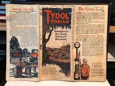 1927 Tydol Trails Tide Water Oil Road Map of New Jersey Pennsylvania Maryland
